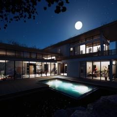 Villa vue arrière - nuit